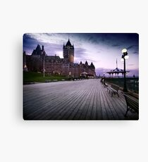 Fairmont Le Chateau Frontenac grand hotel Dufferin terrace in Quebec city with dramatic skies at night art print Canvas Print