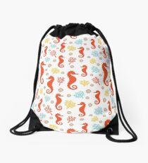 SEAHORSES AND CORALS Drawstring Bag