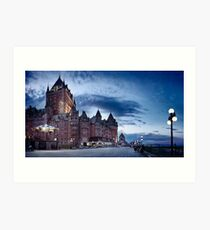 Nighttime panoramic view of Fairmont Le Château Frontenac in Old Quebec City art print Art Print