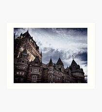Rooftops of Fairmont Le Château Frontenac in Old Quebec City on a stormy night art print Art Print
