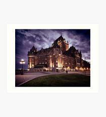 Castle Fairmont Le Château Frontenac with dramatic night sky Québec Canada art print Art Print