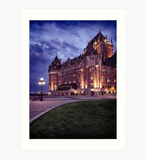 Artistic photo of Fairmont Le Château Frontenac lit by streetlights at night in Old Quebec City art print Art Print