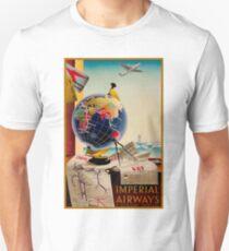 IMPERIAL AIRWAYS : Vintage Airline Advertising Print T-Shirt