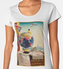 IMPERIAL AIRWAYS : Vintage Airline Advertising Print Women's Premium T-Shirt