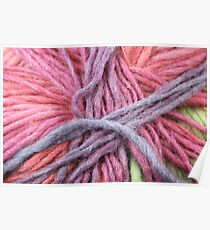 Pastel Colored Yarn Texture Close Up Poster