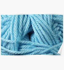 Ice Blue Yarn Texture Close Up Poster