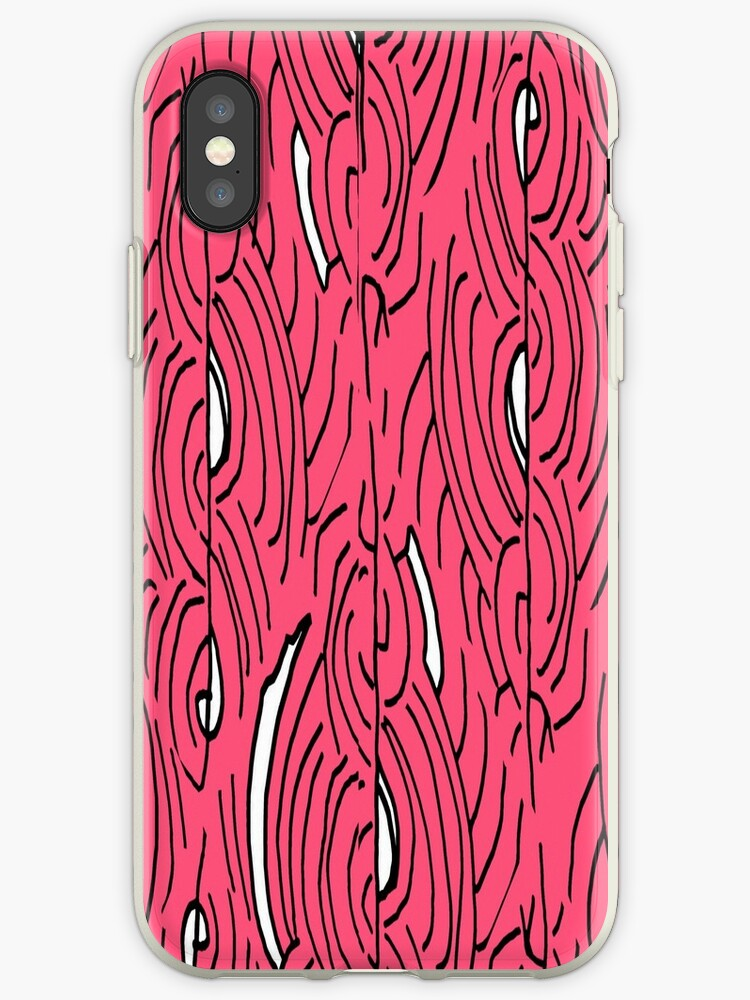 Lines and curves – black, white, cute pink pattern by HEVIFineart