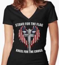 Stand for the Flag, Kneel for the Cross Women's Fitted V-Neck T-Shirt