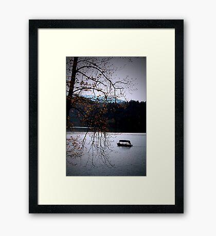 Lake Bled with boat Framed Print
