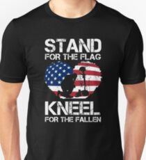 Stand For The Flag, Kneel For The Fallen! Slim Fit T-Shirt