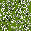 Amoeba apple green black and white pattern by HEVIFineart