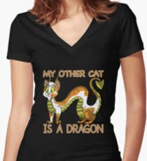 My Other Cat Women's Fitted V-Neck T-Shirt
