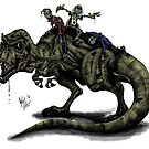 Zombies Riding a Trex by Dylan Moore