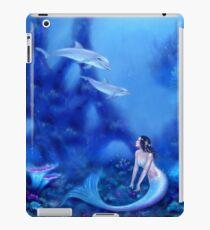 Ultramarin Meerjungfrau & Delfine iPad-Hülle & Klebefolie