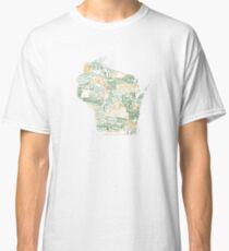 Wisconsin Map Art Classic T-Shirt