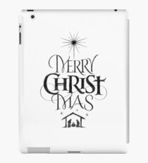 Religious Christian Calligraphy Merry Christmas Christ Mas Sketched Jesus Nativity iPad Case/Skin