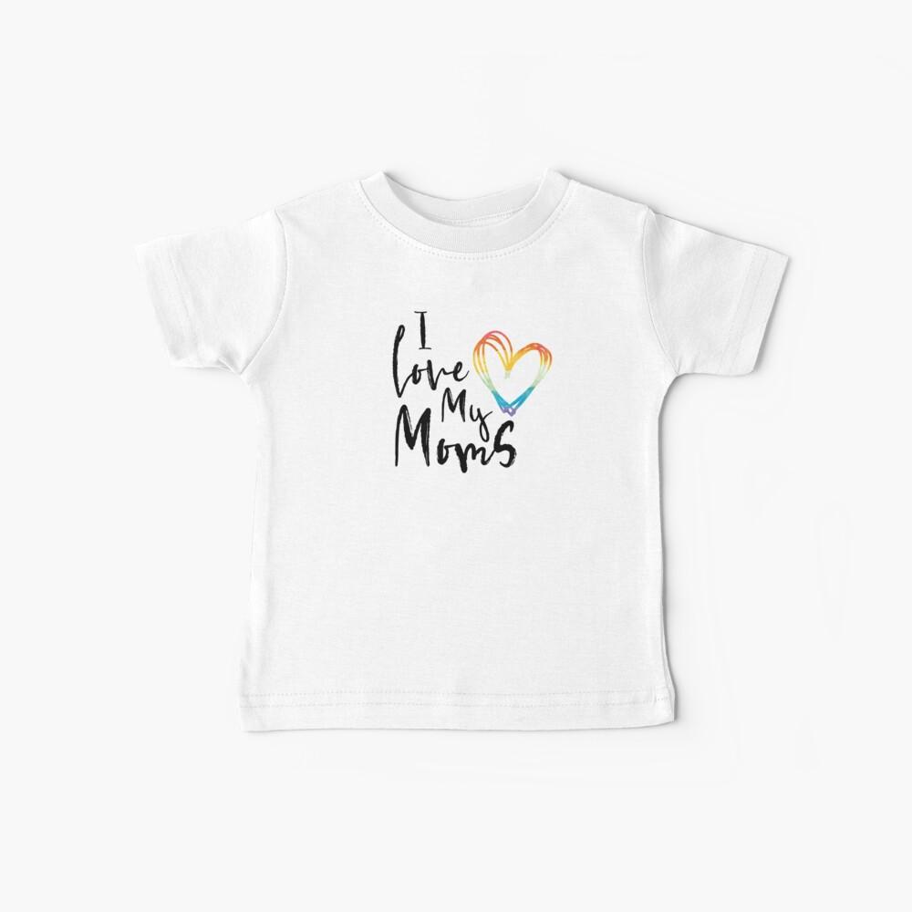 Ich liebe meine Mütter - Rainbow Sketch Heart Baby T-Shirt