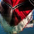Rotes Boot reflektiert von Celeste Mookherjee