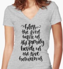 Bless The Food Before Us Thanksgiving Prayer Women's Fitted V-Neck T-Shirt