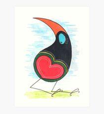 Heart Bum Bird Art Print