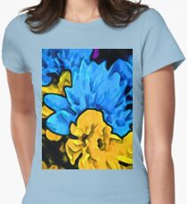 Yellow Eclipse of the Sky Blue Flower T-Shirt