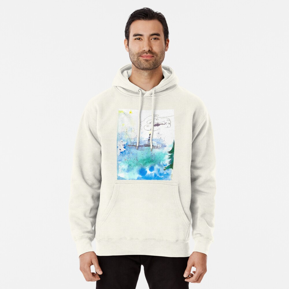 Oil drilling Pullover Hoodie Front