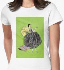 Lady with a yellow feather fan 088 T-Shirt