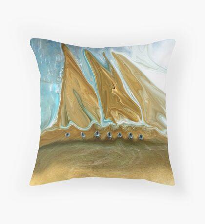 Golden Ship of Time Throw Pillow