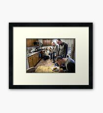 The ascent of Man (eating beans on toast) Framed Print