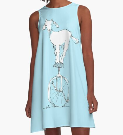 Goat on a unicycle A-Line Dress