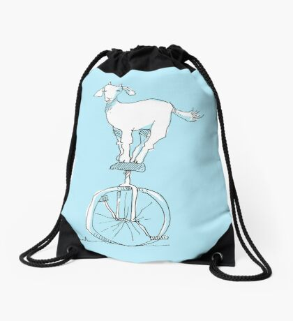 Goat on a unicycle Drawstring Bag