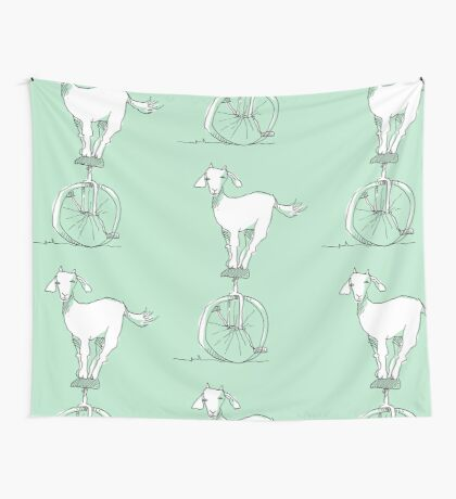 Goat on a unicycle Wall Tapestry