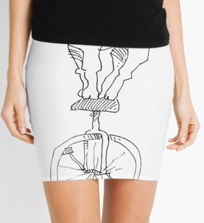 Goat on a unicycle Mini Skirt