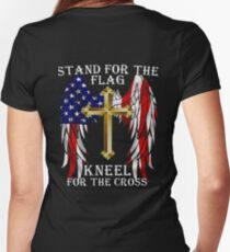 Stand For The Flag, Kneel For The Cross Honor veteran day  Women's Fitted V-Neck T-Shirt