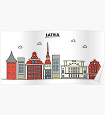 Latvia, Riga City Skyline Design Poster