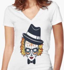 Lady Skull Candy Women's Fitted V-Neck T-Shirt