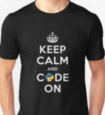 Keep Calm and Code on for Python Developers T-Shirt