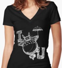 I Love Totoro and I love you too Camiseta entallada de cuello en V