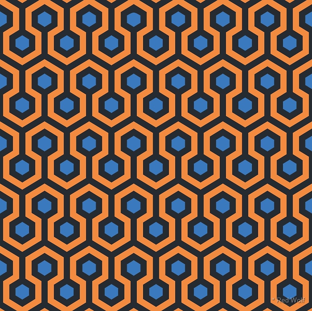 Geometric Pattern: Looped Hexagons: Orange/Blue by * Red Wolf