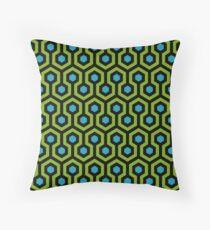 Geometric Pattern: Looped Hexagons: Green/Blue Throw Pillow