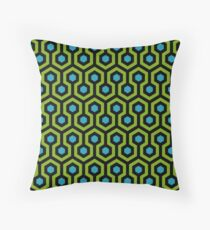 Geometric Pattern: Looped Hexagons: Green/Blue Throw Pillow