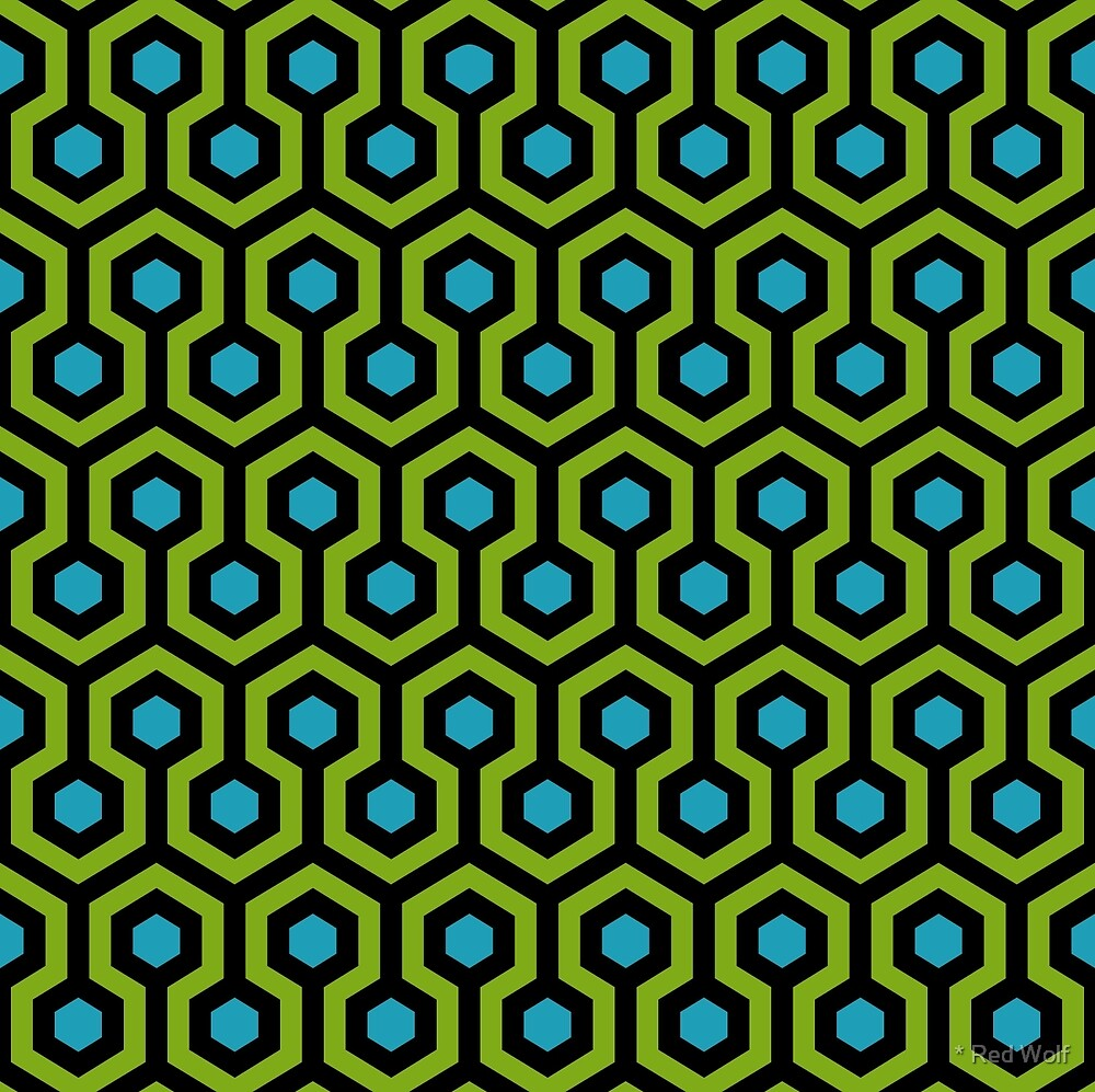 Geometric Pattern: Looped Hexagons: Green/Blue by * Red Wolf