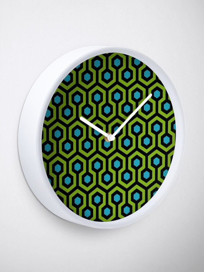 Alternate view of Geometric Pattern: Looped Hexagons: Green/Blue Clock