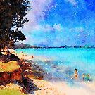 Kailua Beach Under the Ironwood Trees by Angela Treat Lyon