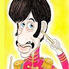 Pop Rock Drummer Karikaturzeichnung 1960er Jahre von MMPhotographyUK