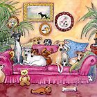 This is our sofa... where's yours? Greyhound dogs on sofa by SusanAlisonArt