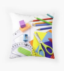 School items in disorder Throw Pillow