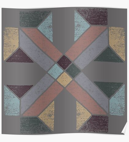 Western Tribal with Earth Tones Abstract Poster