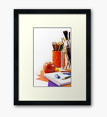 Your desk is with everything you need to study Framed Print