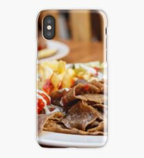 Strips of fried meat with fried potatoes and ketchup on a plate iPhone Case